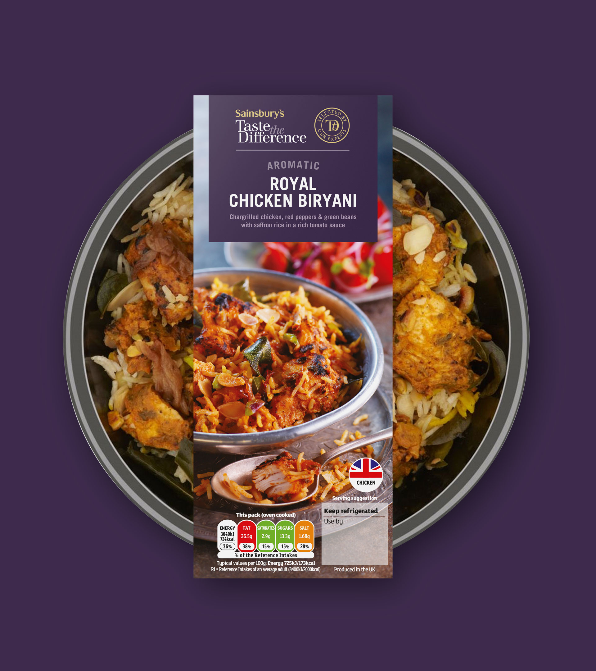 Sainsbury's Taste the Difference ready meal packaging