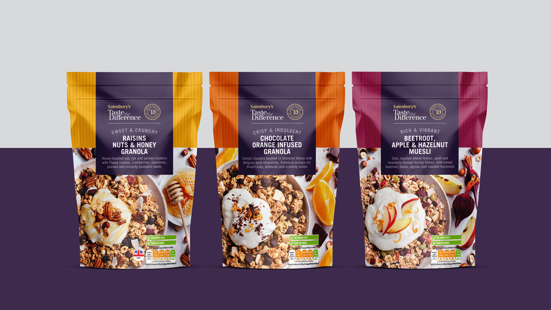 Sainsbury's Taste the Difference Granola & Muesli Packaging