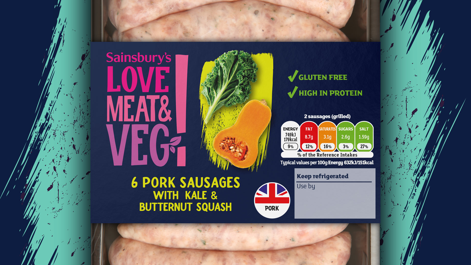 Sainsbury's Pork Sausages with kale & butternut squash