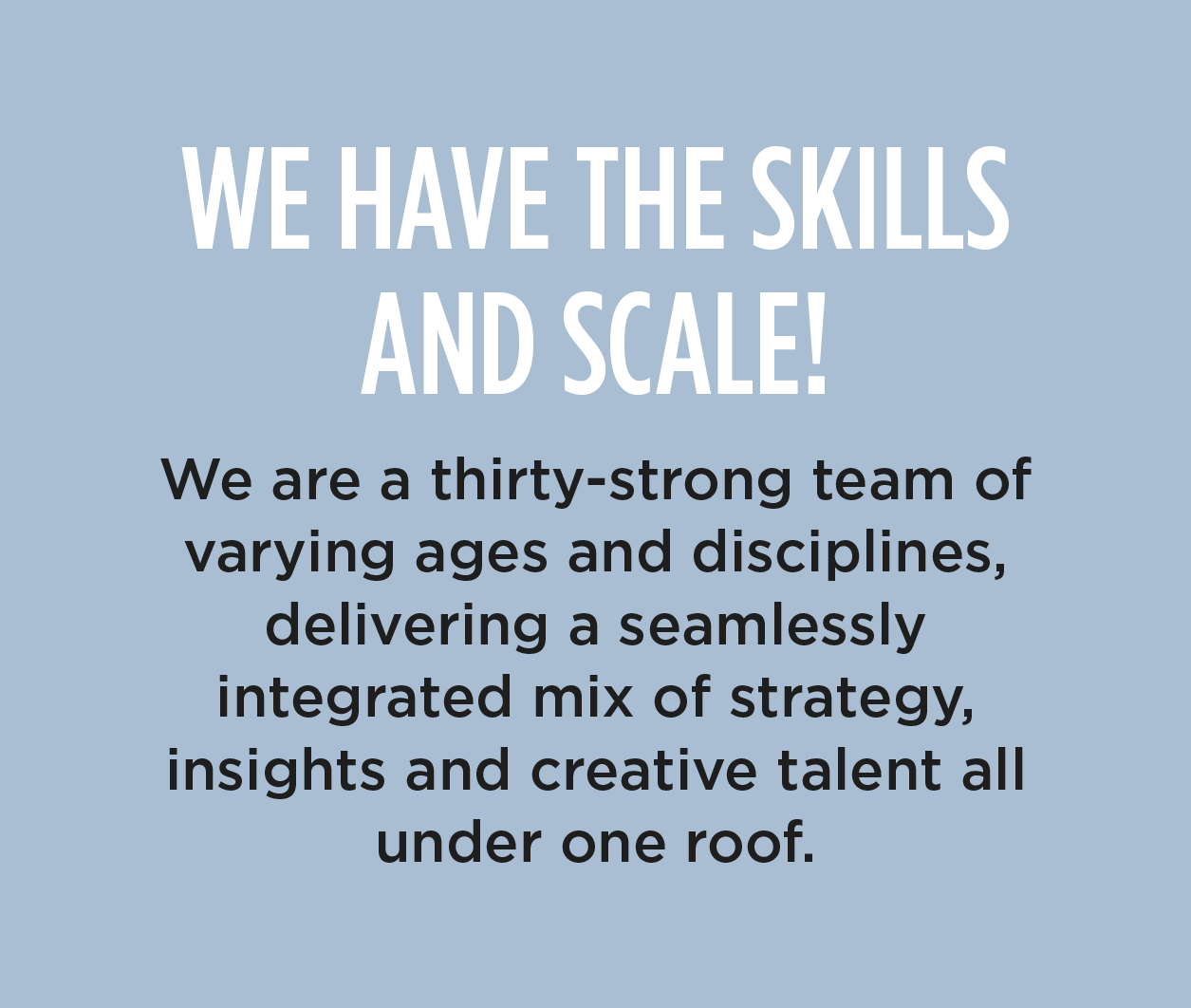 WE HAVE THE SKILLS AND SCALE! - We are a thirty-strong team of varying ages and disciplines, delivering a seamlessly integrated mix of strategy, insights and creative talent all under one roof.